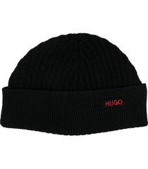 boss hugo boss ribbed wool beanie hat - black