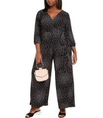 taylor plus size polka dot jumpsuit