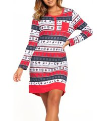 women's cozy modal holiday henley sleepshirt nightgown