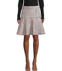 elie tahari women's astrid tweed trumpet skirt - beige multicolor - size 12