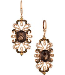 le vian crazy collection multi-gemstone(9-1/4 cttw) drop earrings in 14k rose gold