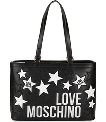 love moschino women's star & logo embroidery tote - black