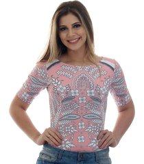 blusa ficalinda meia manga estampa exclusiva bohemian etro rosa decote canoa - rosa - feminino - elastano - dafiti