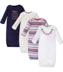 little treasure cotton gowns, sparkle necklace, 4 pack, 0-6 months
