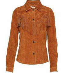 onlmani suede frill shirt wvn långärmad skjorta brun only