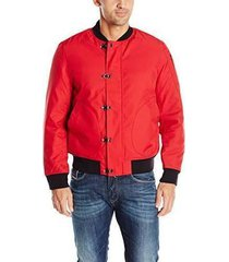 nautica men's long sleeve military inspired bomber jacket, nautica red, small