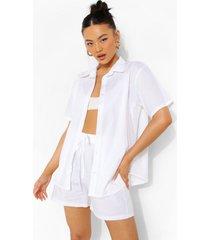 katoenen poplin blouse met korte mouwen en shorts, ivory
