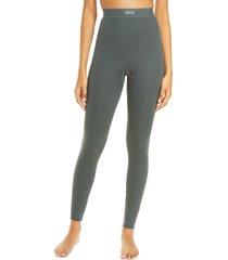 women's skims cotton rib thermal leggings, size medium - green
