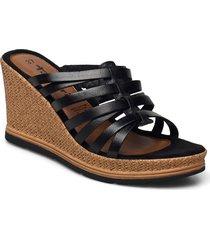 woms slides sandalette med klack espadrilles svart tamaris