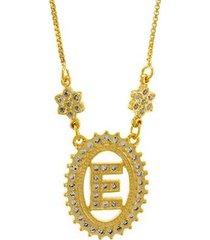 colar horus import letra e zircônia banhado ouro 18k feminino