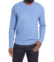 men's nordstrom thermolite v-neck sweater, size x-large - blue