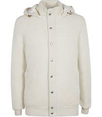 brunello cucinelli button embellished hoodie cardigan