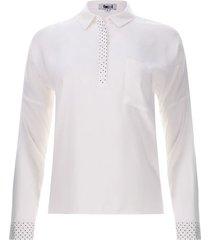 camisa contemporanea color blanco, talla 10