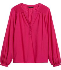 blusa smocked split fucsia banana republic