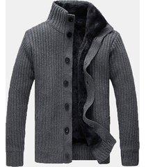 uomo maglione a cardigan termico pesante con collo a listino in colore a tinta unita