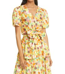 women's milly marilyn watercolor bubble tie front blouse, size small - yellow