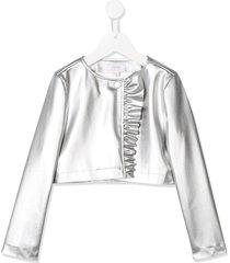 aletta faux-leather ruffled jacket - silver