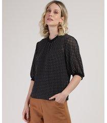 blusa feminina ampla devorê quadriculada manga bufante decote redondo preta