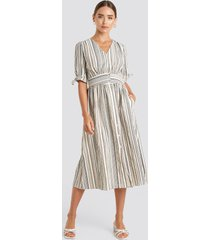 trendyol short sleeve striped midi dress - beige,multicolor
