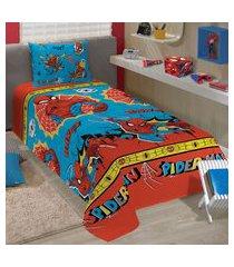 jogo de cama solteiro infantil lepper spider man 3 peças azul