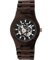 earth wood gobi automatic skeleton wood bracelet watch brown 45mm