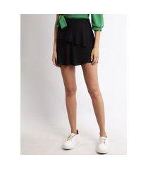 short saia feminino cintura alta com camadas preto
