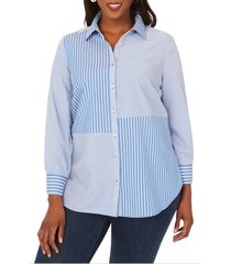 plus size women's foxcroft maven mix & match stripe button-up shirt, size 24w - blue