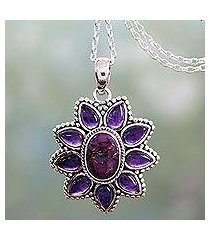 amethyst pendant necklace, 'ruffled petals' (india)