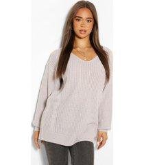 cable knit oversized sweater, silver grey