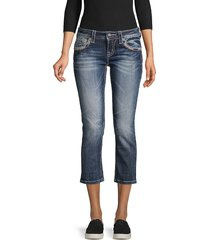 miss me women's embellished cropped jeans - medium blue - size 23 (00)