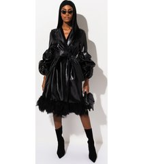 akira walk alone vegan leather trench coat