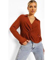 geknoopte dobby mesh blouse met laag decolleté, rust