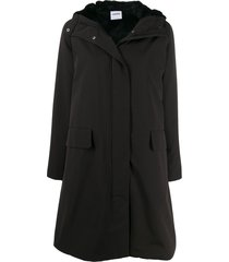 aspesi padded hooded midi coat - black