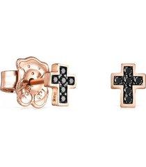 aretes motif cruz de plata vermeil rosa con espinelas