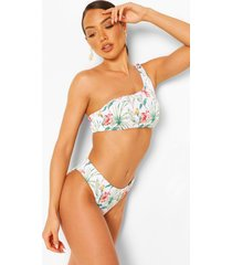 tropical rib asymmetric high waist bikini, white