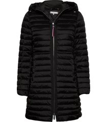 jade lw eco fill coat gevoerde lange jas zwart tommy hilfiger