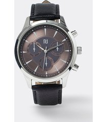 river island mens black rose gold face leather watch