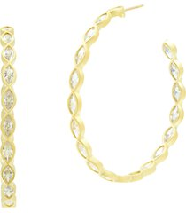 women's freida rothman marquise hoop earrings