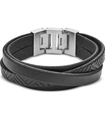 fossil designer men's bracelets, black textured wrap men's bracelet