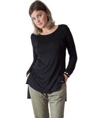 camiseta feminina manga longa slim malha casual - feminino