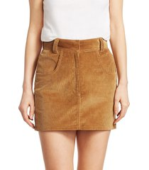 re/done women's ultra high-rise corduroy skirt - camel - size 30 (8-10)
