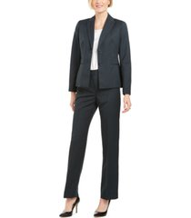 le suit petite pinstriped two-button pantsuit