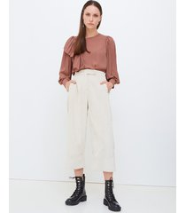 motivi pantaloni cropped in velluto a coste donna beige