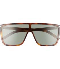 women's saint laurent 99mm shield sunglasses - shiny medium havana/ green