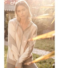 cashmere intarsia hoodie met diagonale strepen