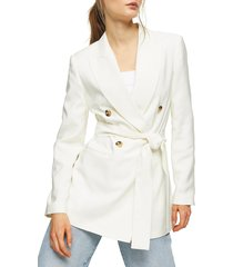 women's topshop belted twill blazer, size 12 us (fits like 14) - ivory