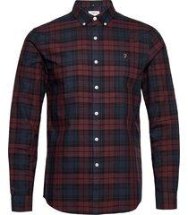 brewer check long sleeve slim fit shirt skjorta casual röd farah