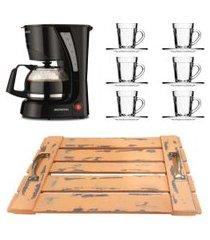 kit 1 cafeteira mondial 110v, 6 xícaras 90 ml com pires e 1 bandeja laranja em mdf de alça