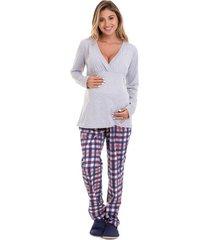pijama de inverno gestante e amamentação xadrez luna cuore