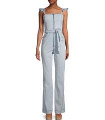 alice + olivia jeans women's gorgeous flutter-sleeve denim jumpsuit - paradise - size 27 (4)